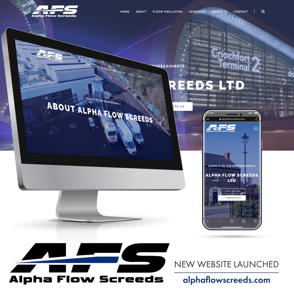 NI Designer web design Alpha Flow Screeds alphaflowscreeds.com
