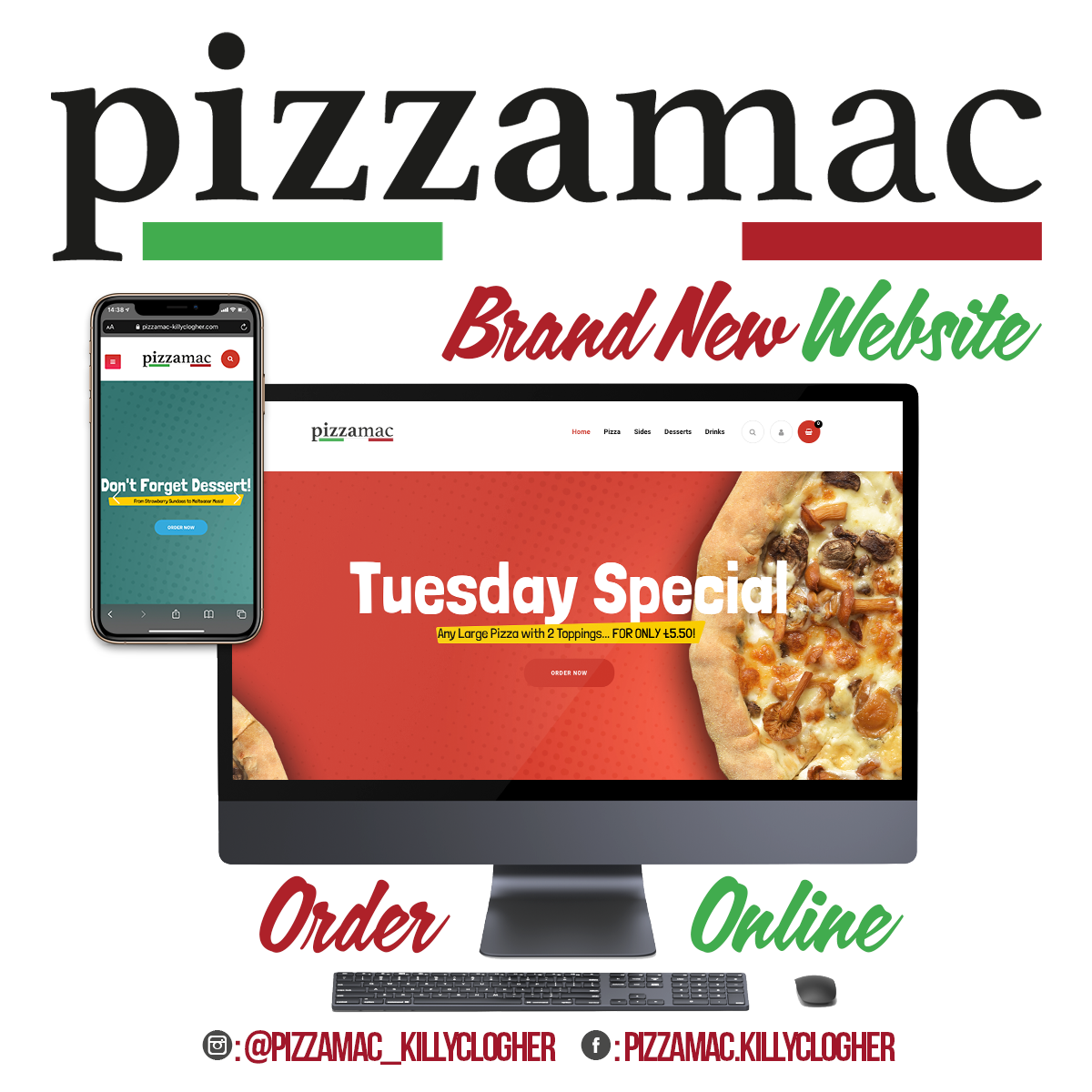 NI Designer web design PizzaMac Killyclogher